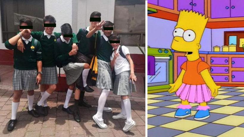 """Estos morros de secundaria llegaron usando falda gracias al """"uniforme neutro"""""""