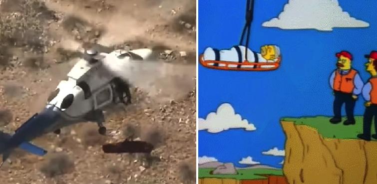 El precioso momento en que un helicóptero rescata a una mujer y la camilla empieza a dar vueltas
