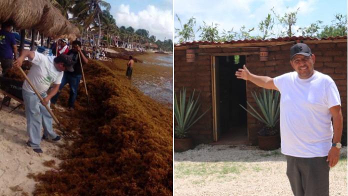 Este héroe está usando el sargazo para hacer ladrillos y construir casas para la gente necesitada