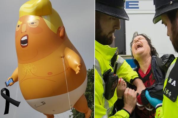 Ya siéntese, gringa nivel: arruina protesta pacífica y destruye al baby Trump