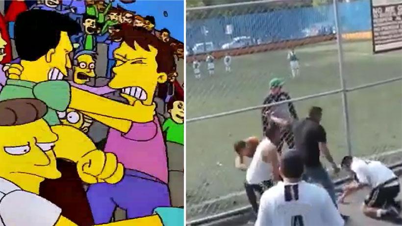 Los Simpson lo hicieron de nuevo: padres se agarran a manazos en el partido de sus hijos