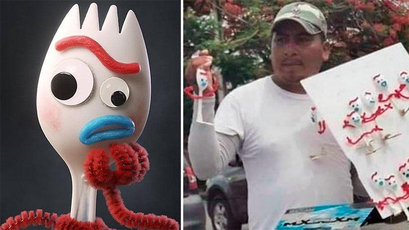 A un lado, Forky de 1000 pesos, este genio los está vendiendo a 25 pesitos en la calle