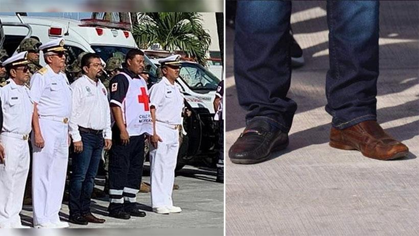 Cruda nivel: funcionario es captado con zapatos campechanos
