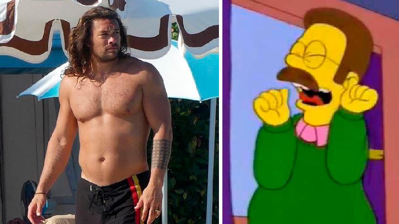 Así se ve Jason Momoa en los Simpson sin su panza chelera