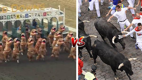 PETA quiere reemplazar los toros de San Fermín con weyes vestidos de dinosaurio