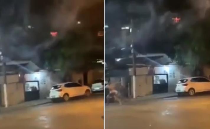 Héroe corre a vecinos borrachos disparándoles cuetes desde su dron