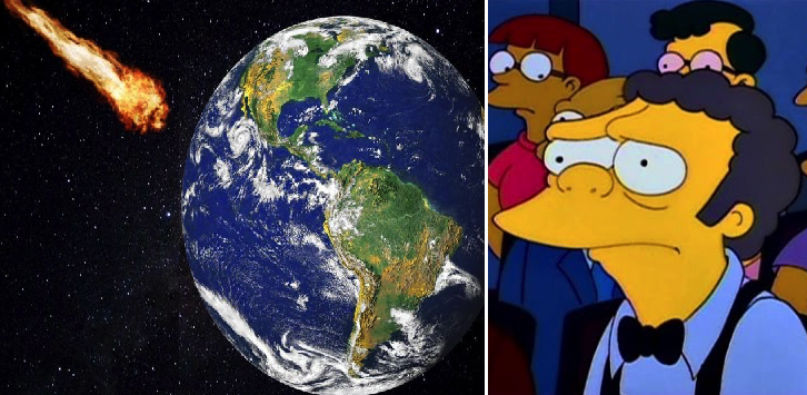 Astrónomos aseguran que el asteroide caerá exactamente en el bar de Moe