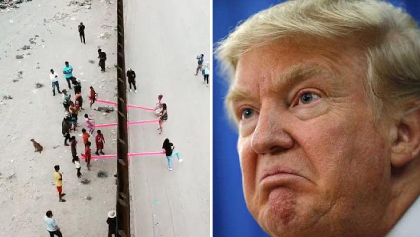 Niños se diverten con sube y baja en la frontera.