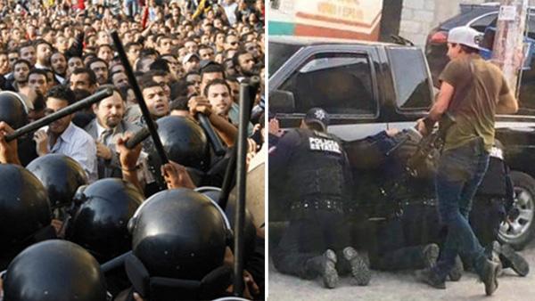 Gobierno manda a civiles para golpear y disolver protesta de policías