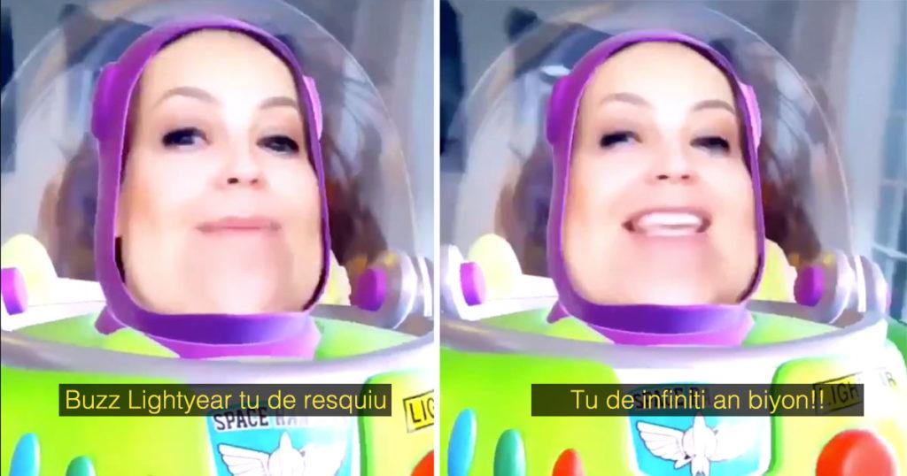 A Thalía le volvió a explotar la tacha y nos regaló esta obra de arte como Buzz Lightyear