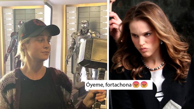 Brie Larson levantó el martillo de Thor y Natalie Portman se le fue encima por payasa