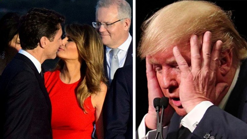 Momento exacto en el que a Trump le ponen el cuerno frente a los líderes mundiales