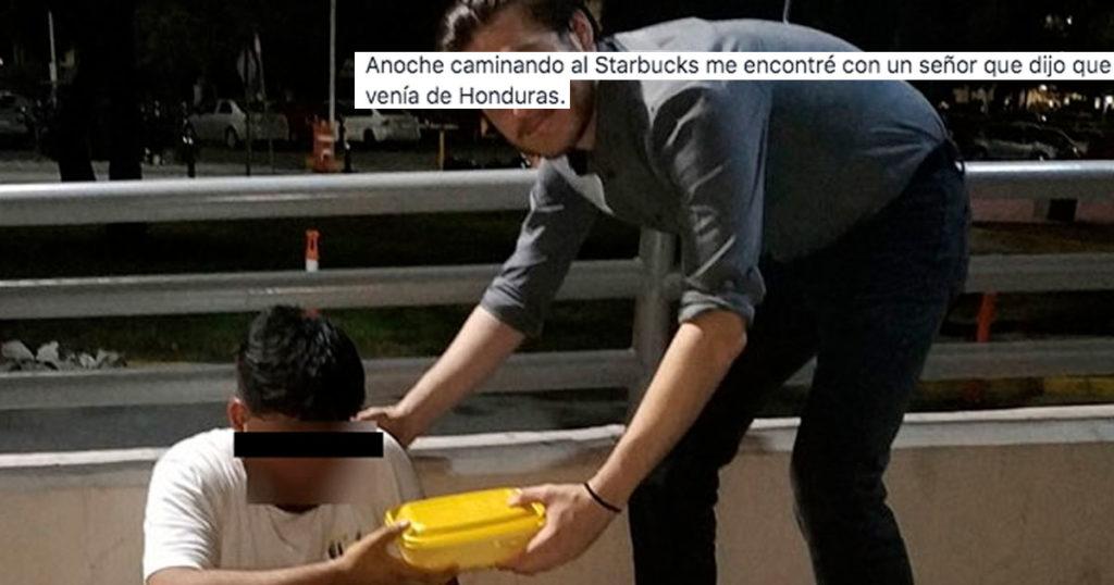 Whitexicans nivel: Le doy mis sobras del tupper a un hondureño y lo publico en el feis