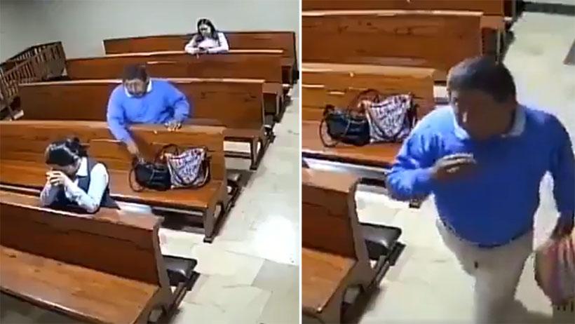 Ratero cínico nivel: se persigna luego de robar en la iglesia