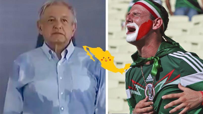 ¡Detengan todo! Se formó un México de sudor en la camisa de AMLO