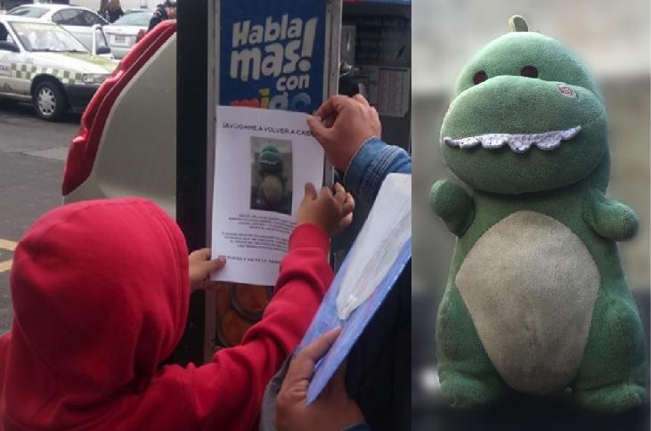 Niño pone letreros para tratar de encontrar a su peluche perdido: Babysaurio