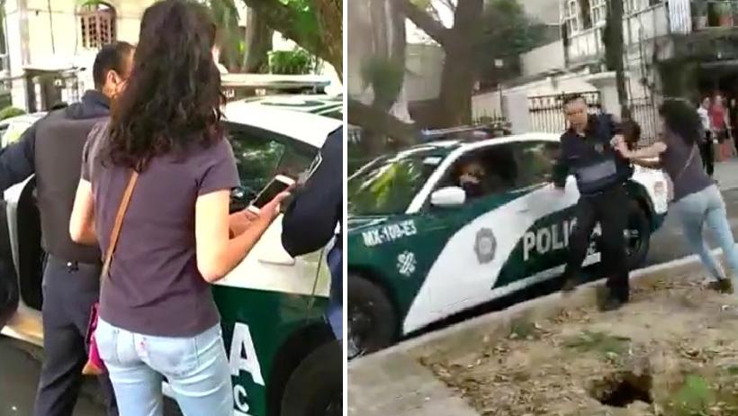 Lady Patrulla: sacó la furia porque los polis querían llevarse a su esposo