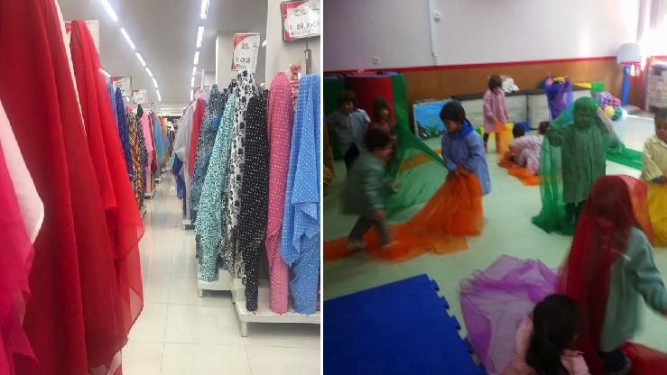 Telas 'Parisina' empezará a cobrar la entrada a niños que agarren la tienda para jugar escondidas