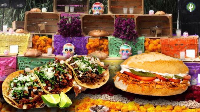 Ofrenda de Muertos con tacos y tortas