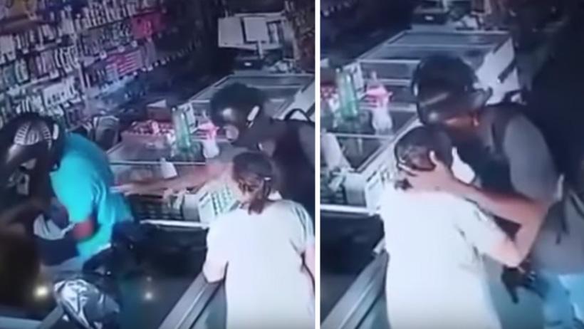 Tierno ladronzuelo nivel: antes de rajarse a la gente, calma a una anciana con un beso
