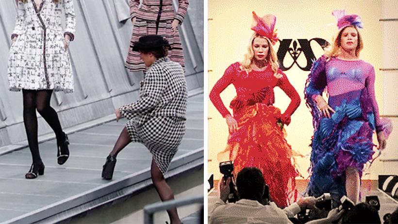 Momento exacto en el que una loca se coló a la Pasarela de Chanel y la sacan a cachetadas (VIDEO)