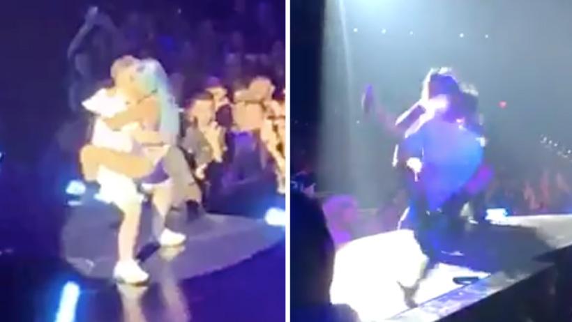 Por andar de chistosa, Lady Gaga hace un Juan Gabriel y se cae con todo y fan