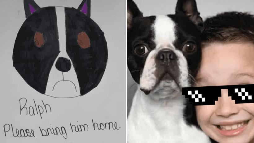 Típico que se te pierde tu perrito y haces unos dibujos bien finos para encontrarlo