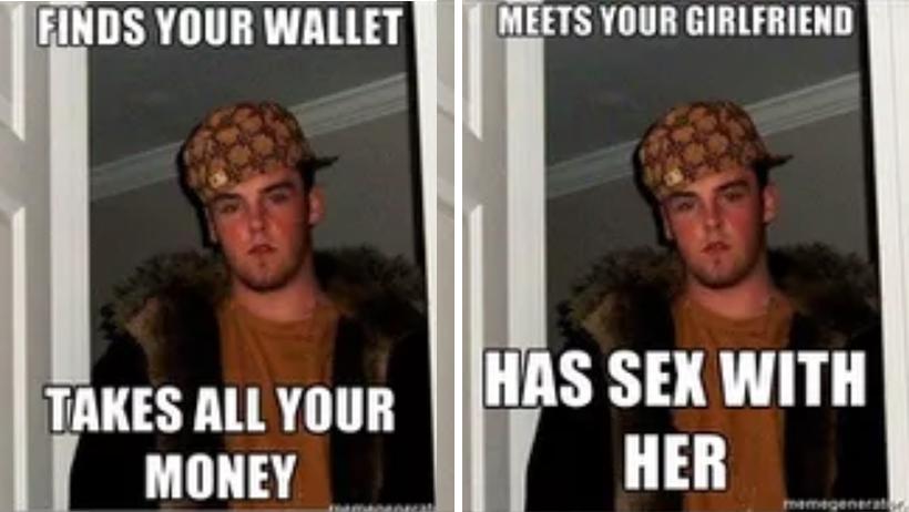 Scumbag Steve Mala persona meme