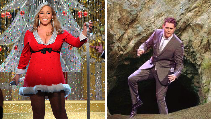 Captan a Michael Bublé y Mariah Carey saliendo de sus cuevas para cantar canciones de Navidad