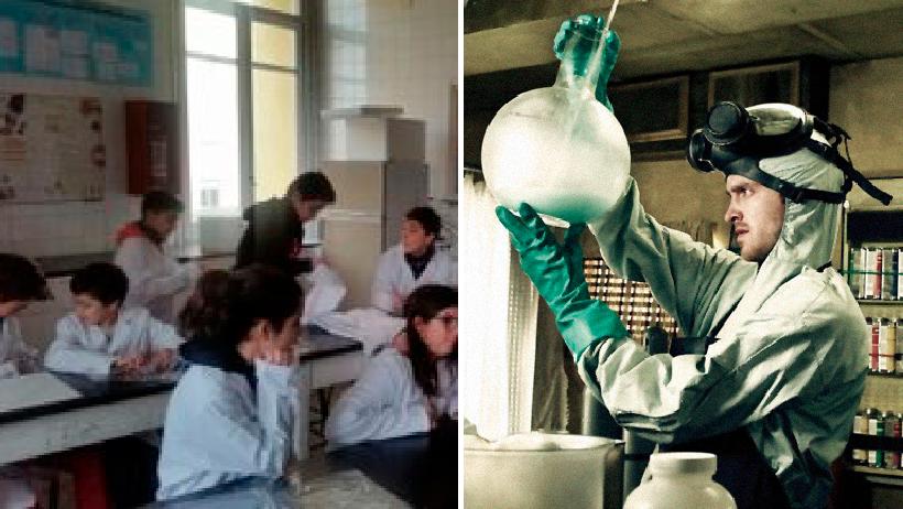 Química laboratorio bata secundaria drogas.