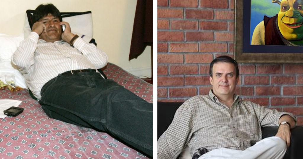 Evo Morales reporta que se duerme muy bien en el sillón de Marcelo Ebrard
