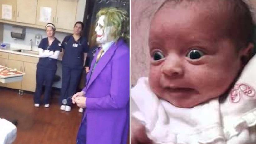 Típico que es tu llegada al mundo y te recibe el Joker vestido de doctor