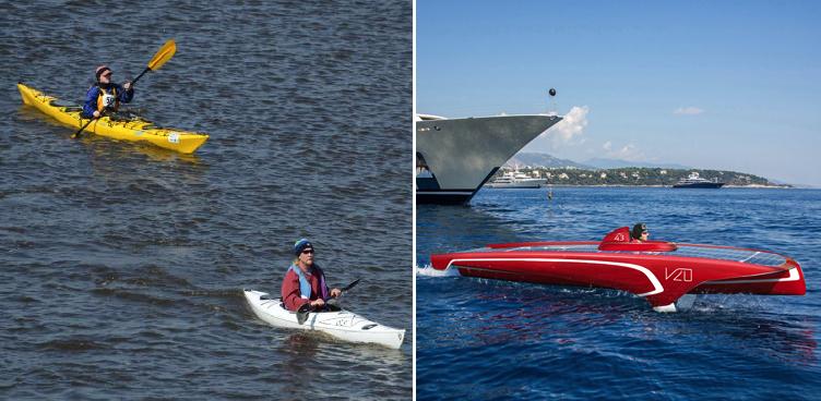 Lancha de motor que se siente bote gana carrera de kayaks