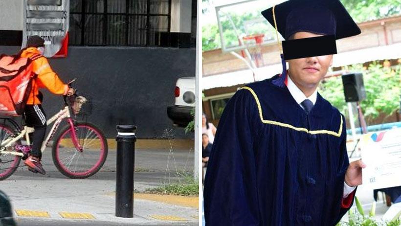 Repartidor de comida entrega un pedido en universidad patito y sale graduado