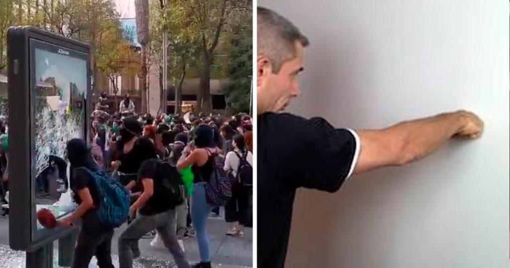 Hombre que le pega a la pared cuando se enoja, indignado por destrozos de la marcha feminista
