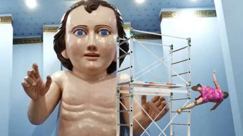 Abuela cae de andamio por querer besar la frente del niñote Dios