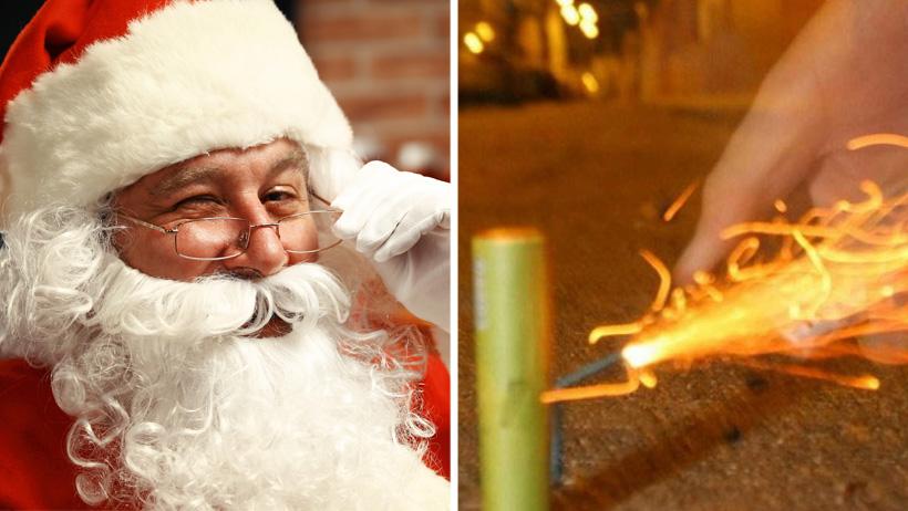 Santa promete regalar tantita madre a personas que estallen cohetes en Noche Buena