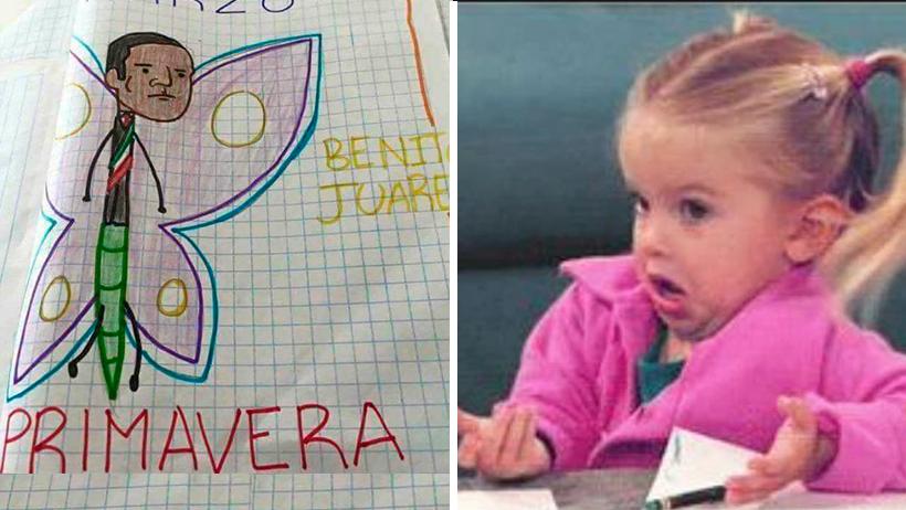 Gobierno demanda a la niña que dibujo al Benito Juárez Mariposa por daños a la Nación