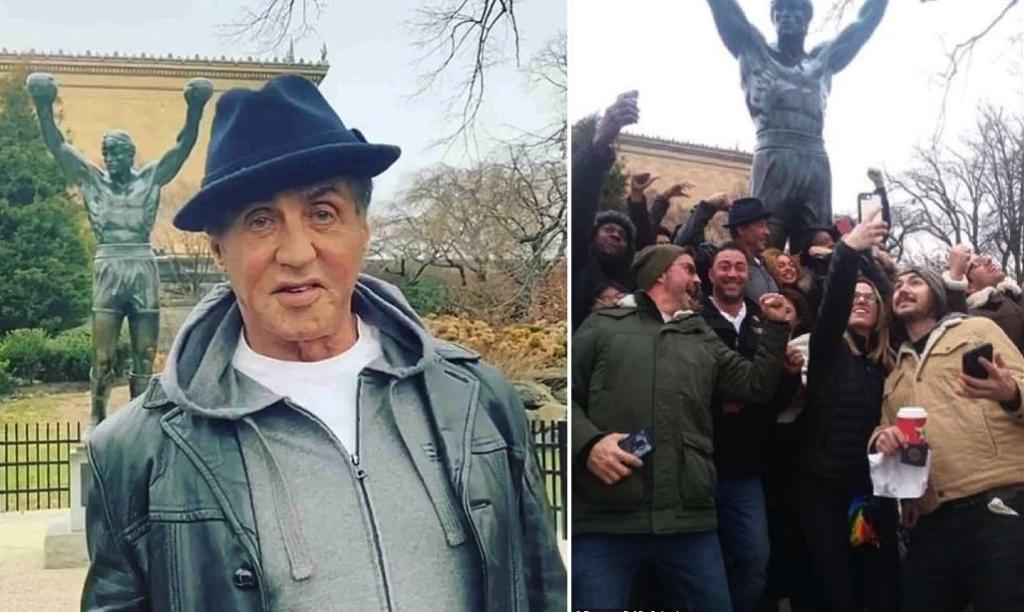 Este es mi héroe: Rocky saluda a personas mientras se tomaban fotos en la estatua de Rocky