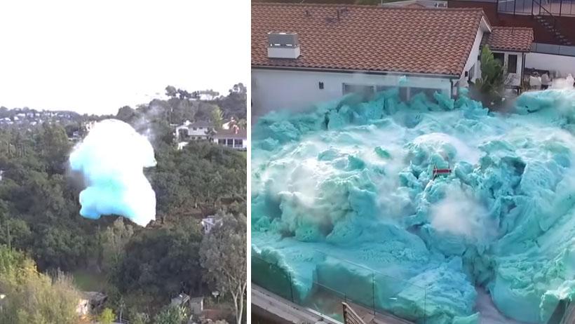 Mírenme mírenme nivel: Youtubers explotan un volcán de espuma e inundan el patio