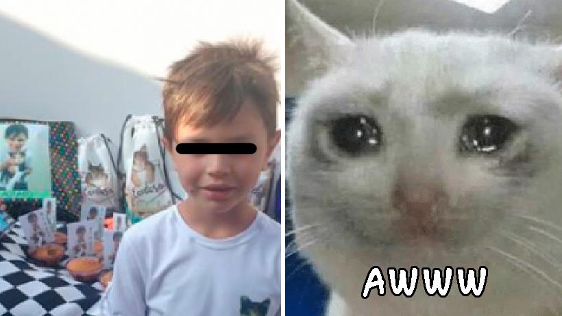 Niño hace cumpleaños con temática sobre su gata-