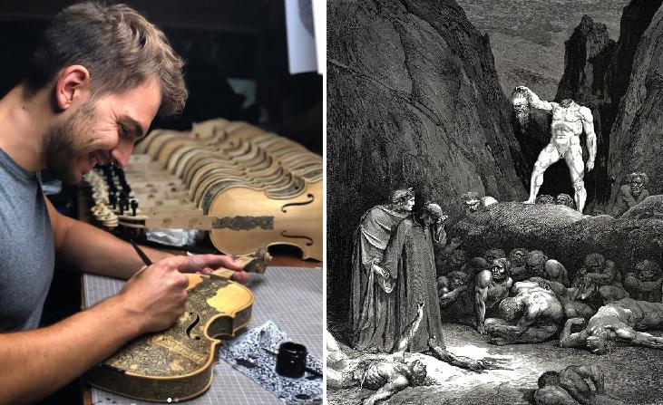 """Este vato dibujo escenas de la """"Divina Comedia"""" en instrumentos musicales y tú sigues con la plastilina"""