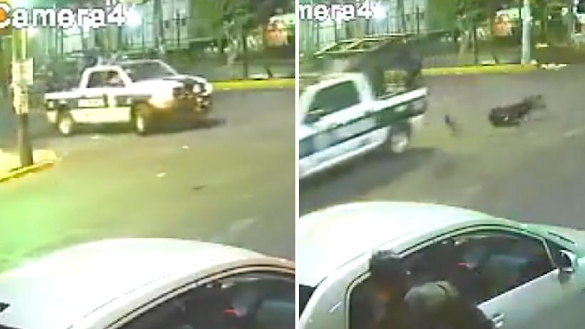 Policía cae de patrulla en movimiento.