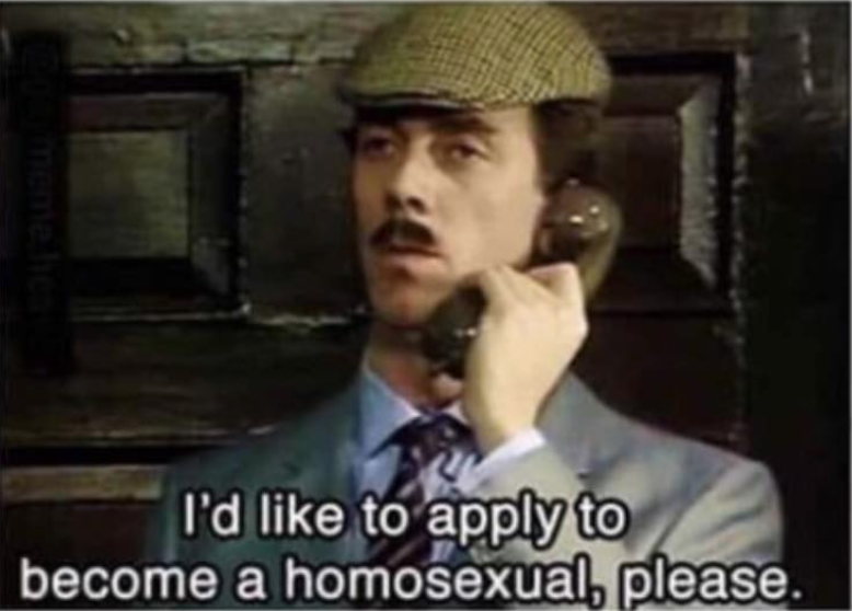 I'd like to apply to become a homosexual meme