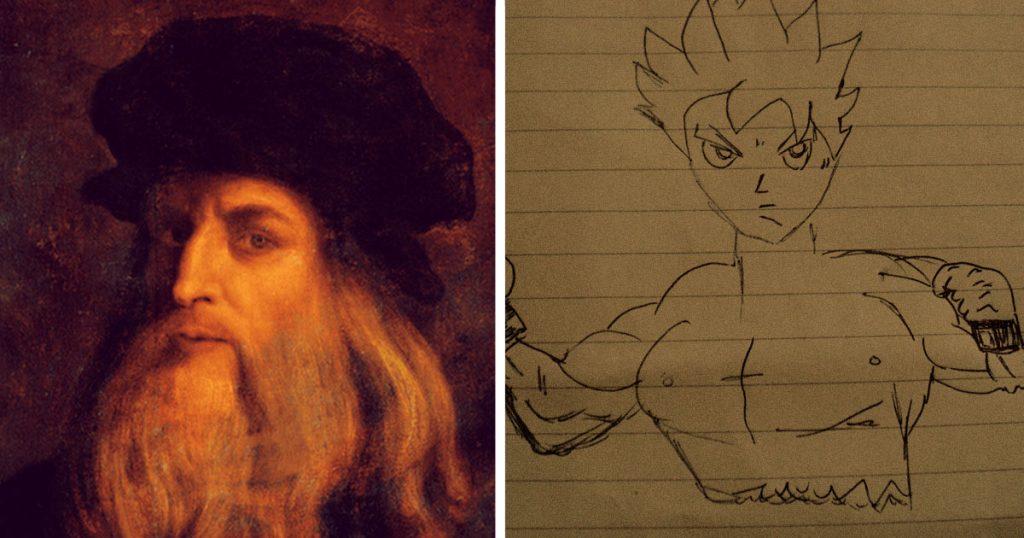 Leonardo Da Vinci confiesa que comenzó su carrera como pintor dibujando Gokús