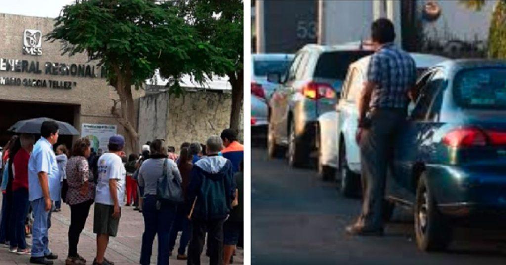 Captan en la fila del motel a personas que se quejan de esperar en el IMSS