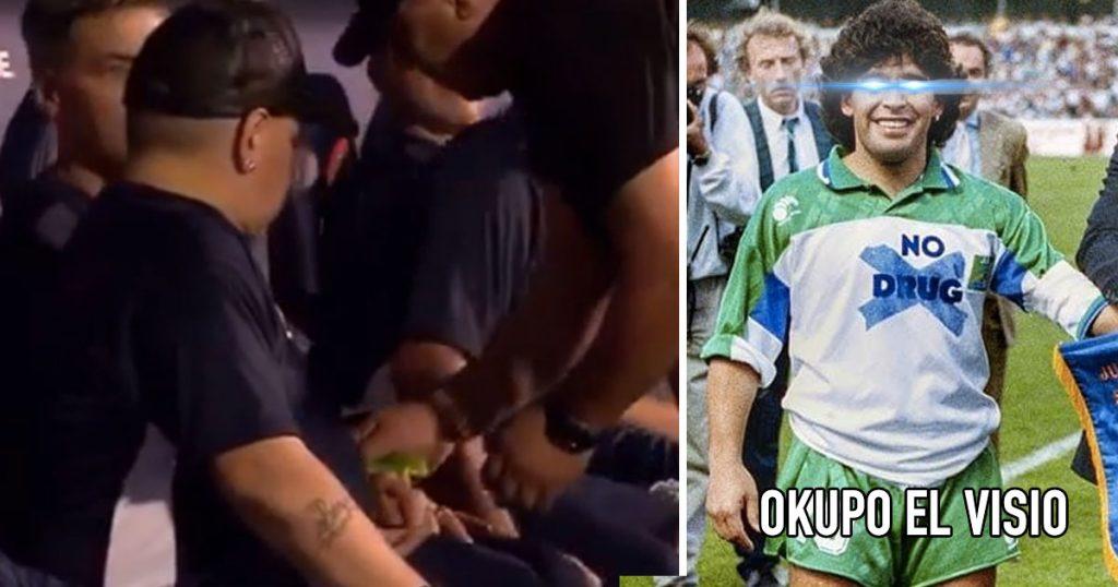 Maradona volvió a las andadas y lo cacharon ocupando el vicio en pleno partido