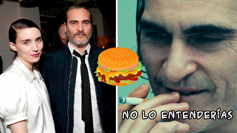 Joaquin Phoenix celebra Oscar con hamburguesas.