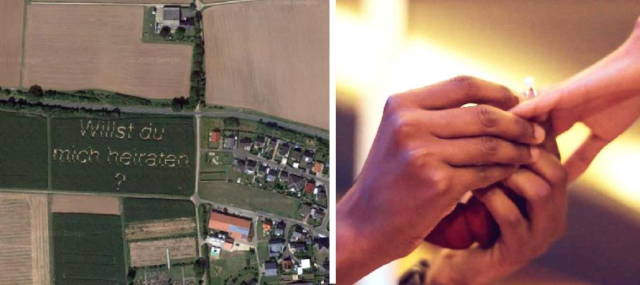Este sí es Romántico: le propone matrimonio a su novia con maíz sembrado y sale en Google Maps