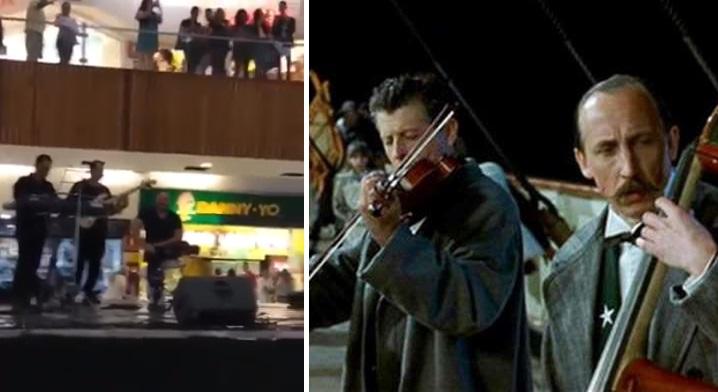 Grupo que tocaba en plaza comercial empieza a tocar la del Titanic conforme todo se inunda